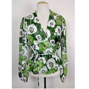 NEW ASTR Green Floral Textured Wrap Blouse